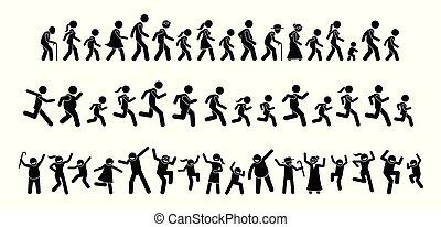pessoas, muitos, andar, junto., executando, dançar