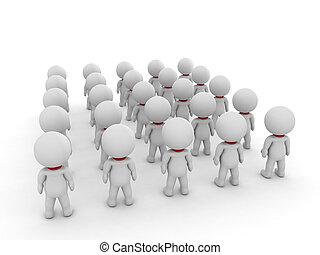 pessoas, muitos, costas, ilustração, pequeno, visto, 3d