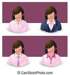 :, pessoas, mulheres negócios, ícone