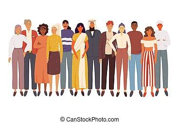 pessoas, multiethnic, junto, grupo, ficar