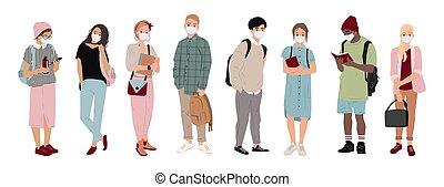 pessoas, multiethnic, máscaras, médico