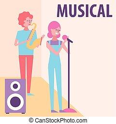 pessoas, musical, celebração