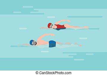 pessoas, natação