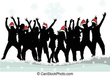 pessoas., natal, fundo, dançar