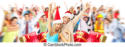 pessoas, natal, torcida, gifts.
