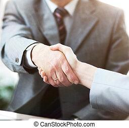 pessoas negócio, apertar mão, acabamento, cima, um, reunião
