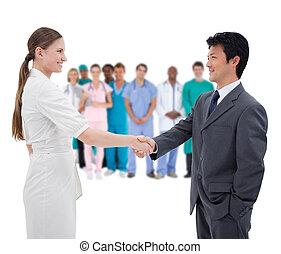 pessoas negócio, apertar mão, com