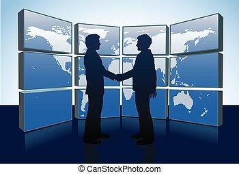 pessoas negócio, aperto mão, mapa mundial, monitores