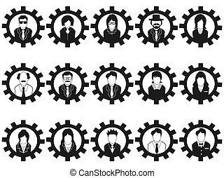 pessoas negócio, avatar, engrenagem, ícones
