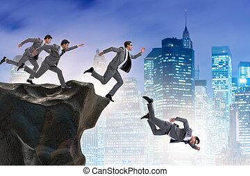pessoas negócio, caindo, a, penhasco