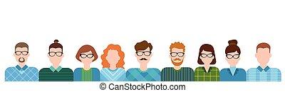 pessoas negócio, caricatura, personagem, jogo, mulher homem,...