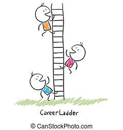 pessoas negócio, carreira, ladder., ilustração, cima,...