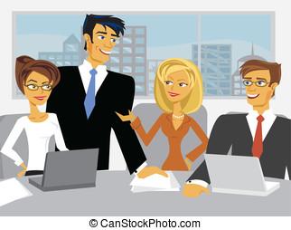 pessoas negócio, cena, vetorial, reunião, caricatura