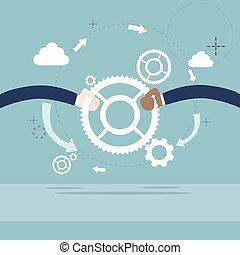pessoas negócio, cogwheel, mão, trabalho equipe, cooperação, ter