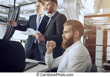 pessoas negócio, colabore, junto, em, escritório