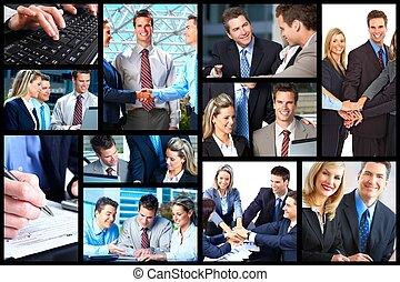 pessoas negócio, collage.