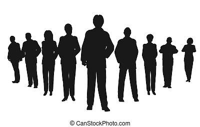 pessoas negócio, com, líder