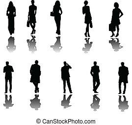 pessoas negócio, com, sombra