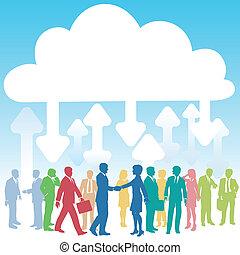 pessoas negócio, companhia, computando, aquilo, nuvem
