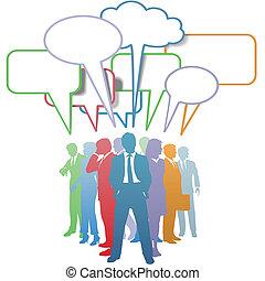 pessoas negócio, comunicação, cores, borbulho fala