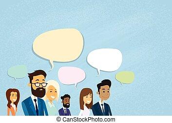 pessoas negócio, consultar, grupo, falando, discutir, conversa, comunicação, social, rede