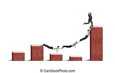 pessoas negócio, contra, crise, tendência