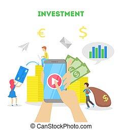 pessoas negócio, dinheiro, concept., dinheiro, investir, investimento