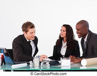 pessoas negócio, discutir, em, um, reunião