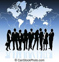 pessoas negócio, e, mapa mundial