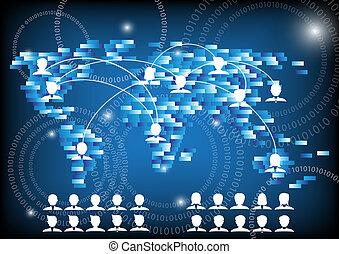 pessoas negócio, e, mundo, rede, comunicação