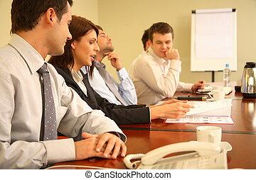 pessoas negócio, em, reunião informal