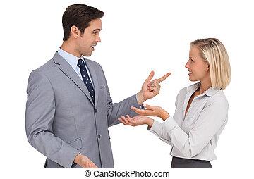 pessoas negócio, encontre, um ao outro