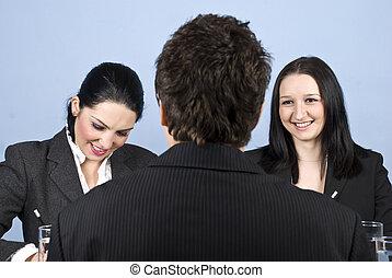 pessoas negócio, entrevista