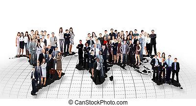 pessoas negócio, equipe, com, mapa mundial