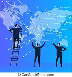 pessoas negócio, equipe, com, mapa mundial, conectando, a, ponto, para, global, communication., modernos, corporação, company.