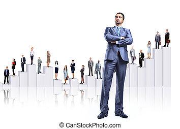 pessoas negócio, equipe, e, diagrama