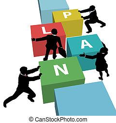 pessoas negócio, equipe, empurrão, plano, junto