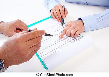 pessoas., negócio, escrita
