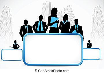 pessoas negócio, ficar, com, painél publicitário