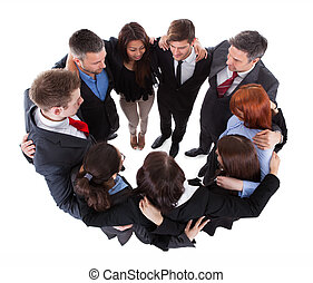 pessoas negócio, ficar, em, círculo