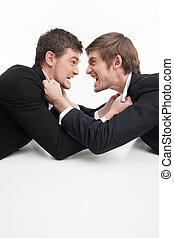 pessoas negócio, fighting., dois, zangado, jovem, pessoas negócio, luta, enquanto, isolado, branco