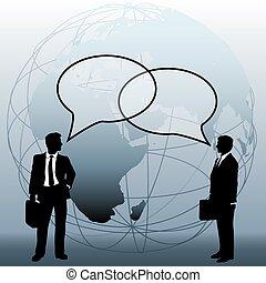 pessoas negócio, global, ligar, equipe, bolhas, conversa