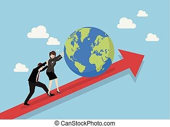 pessoas negócio, gráfico, empurrar cima, mundo