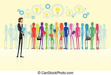 pessoas negócio, grupo, human, recurso, líder, homens...