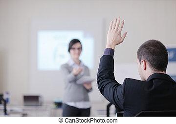 pessoas negócio, grupo, ligado, seminário