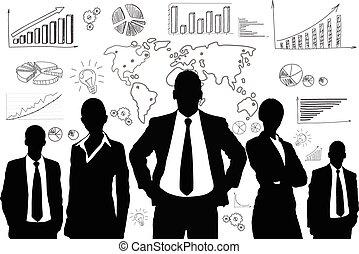 pessoas negócio, grupo, pretas, silueta, gráfico