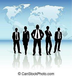 pessoas negócio, grupo, pretas, silueta, sobre, mapa mundial