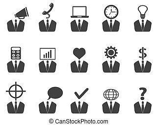 pessoas negócio, idéia, ícones, jogo
