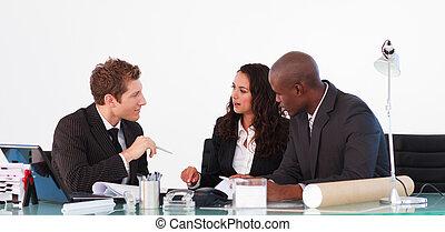 pessoas negócio, interação, em, um, reunião