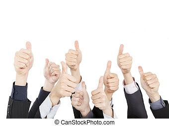 pessoas negócio, isolado, cima, polegares, fundo, branca